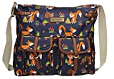 Freddie Fox & Squirrel Print Saddle Style Zipper Crossbody Bag