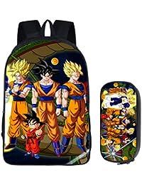 Cosstars Dragon Ball Anime Imagen Estudiantes Conjunto de Mochila Escolar Bolsas de Papelería Backpack Set