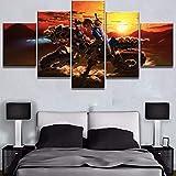 Rymh Leinwand Gemälde Druckt 5 Stücke The Legend of Zelda Wandkunst Wohnzimmer Bilder Home Decoration Kein Gerahmt,E,55X100cm