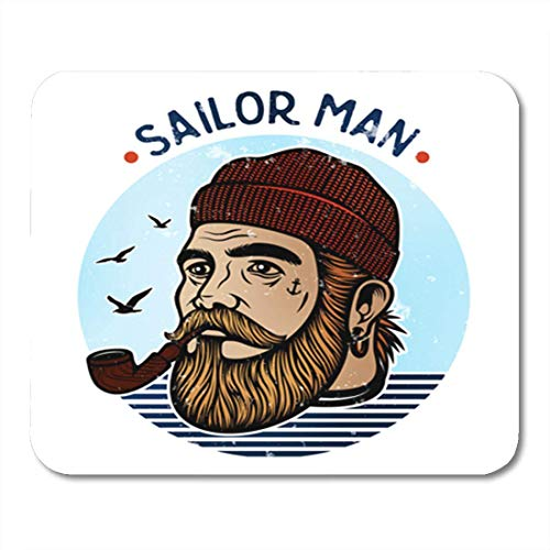 AOCCK Gaming Mauspads, Gaming Mouse Pad Portrait of Bearded Sailor Tobacco Pipe Hipster Man Boat 11.8