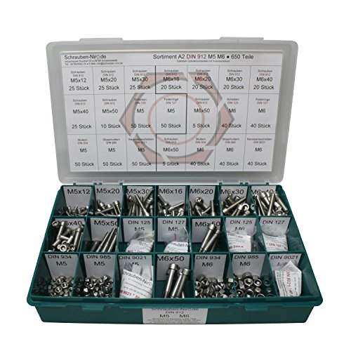 Sortiment M5 + M6 DIN 912 Edelstahl A2 (V2A) Zylinderschrauben (Innensechskant) - Set bestehend aus Schrauben, Unterlegscheiben (DIN 125, 127, 9021) und Muttern (DIN 934, 985) - 650 Teile