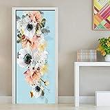 tonywu PVC 3D Impermeabile Autoadesiva Fiore Fresco Foto Wallpaper Porta Adesivo Murale Soggiorno Arredamento Camera da Letto Decalcomanie