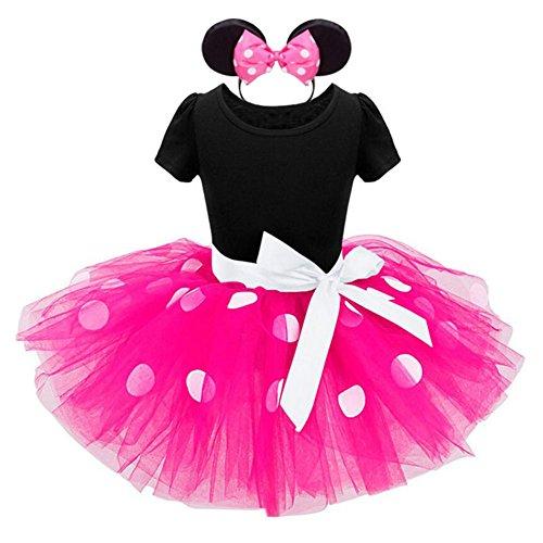 gs Kleinkind Baby Mädchen Kinder Kostüm Halloween Weihnachten Ballettkleid Party Hochzeit Polka Dots Tutu mit Stirnband Kleid +Ohren Rosa/120 (Neugeborenes Mädchen Halloween-kostüm)
