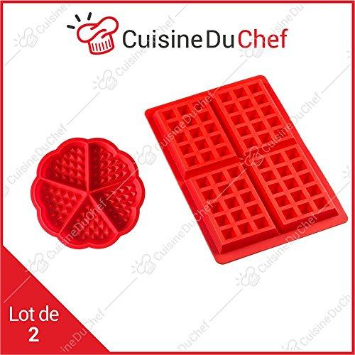& # x272E; cuisineduchef & # x272E; moldes de silicona con Gofres | Juego de 2| Rectángulo & corazón | uso en el horno & Grill | (ideal para Gaufre de Bruselas, liégeoise, Receta Salé & sucré | calidad professionnell