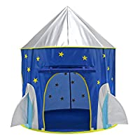 Georgie Porgy Kids Play Tent Pop up Tents, Foldable Play House Portable Tent Castle Toy Gifts for Children Girls Boys Indoor and Outdoor Use (Rocket)