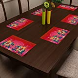 SEJ By Nisha Gupta Abstract Orange HD Digital 12 By 18 Inches Table Mats ( Set Of 6 )