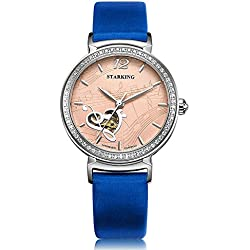 STARKING Women's AL0230SL70 Musical Scores Embossed Heart Skeleton Dial Watch with Blue Leather Strap