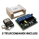Modulo Scheda relè ricevitore 4 canali Ch 220V 230V 10A + 2 telecomandi 433MHz controllo remoto wireless cancelli serrande luci domotica interruttore ricevente relay