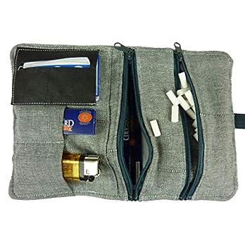 Tabaktasche Tabakbeutel – Drehertasche mit Fächern für Filter, Blättchen und Feuerzeug I Geschenk-Verpackung
