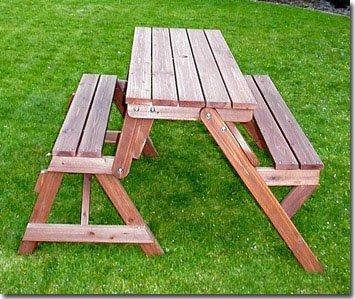 Holzbank Tisch Sitzgarnitur clevere Sache die Kombibank – Gartenbank - 3