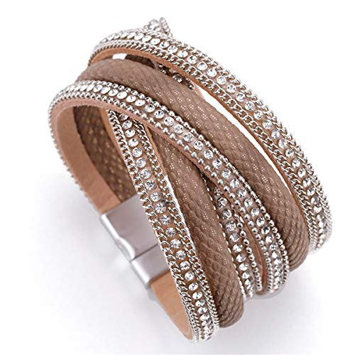 Armreif mit Kette, Leather Bracelet Women Jewelry X Cross Magnet Snake Skin Pattern Rhinestone Wrap Multilayer Bracelets & Bangles Female Khaki (Snake Skin Uhr)