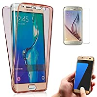 Galaxy J7 (2016) Case + Screen Protector, Bonice Ultra Thin Fit Soft TPU Rubber Clear Scratch Resistant Bumper Front and Back Full Body 360 Degree Protective Cover for Samsung Galaxy J7 J710 - Rose Red