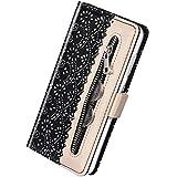 Herbests Kompatibel mit Huawei P30 Lite Handy Hülle Multifunktionale Reißverschluss Tasche Blumen Flip Case Brieftasche Schutzhülle Klapphülle Handschlaufe Kartenfach Magnet,Schwarz