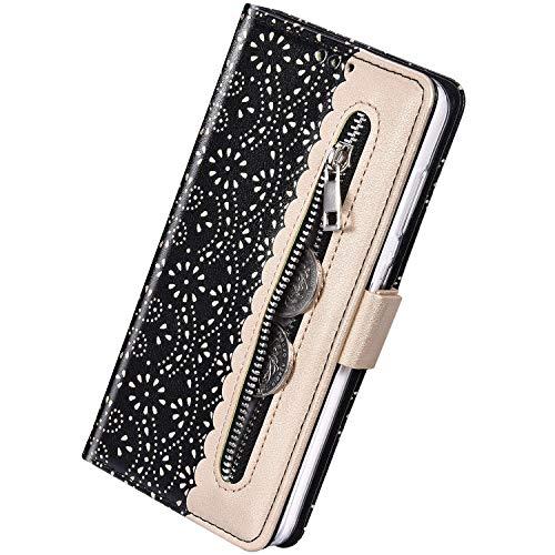 Herbests Kompatibel mit Samsung Galaxy S10 Plus Handy Hülle Multifunktionale Reißverschluss Tasche Blumen Flip Case Brieftasche Schutzhülle Klapphülle Handschlaufe Kartenfach Magnet,Schwarz