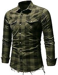 Tops de hombre,Camisa a cuadros hombres Manga corta casual Sudadera verano Camiseta a rayas corte slim para hombre camisa vintage hombre