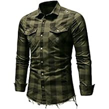 Tops de hombre,Camisa a cuadros hombres Manga corta casual Sudadera verano Camiseta a rayas