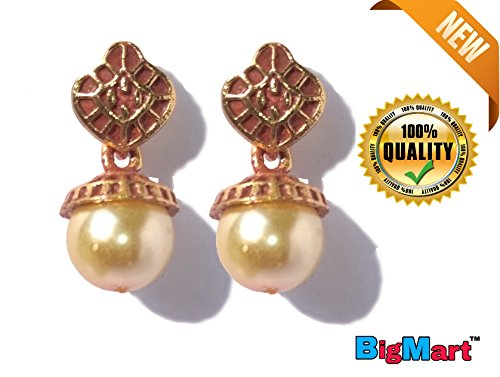 Gold Plated Party Wear Beautiful Traditional Rajesthani Pearl Tops / Earrings for Girls / Women / Ladies / Girlfriend & Sister with Golden Ethnic Traditional looks for New Party Wear / Fancy and Special Wedding Collection Accessories Design at Low Price With High Quality Product by || by BigMart™ ||  available at amazon for Rs.219