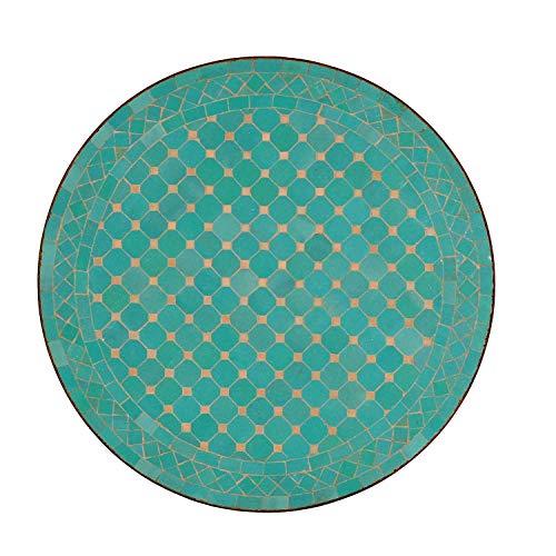 Mediterraner Gartentisch M60-11 marokkanischer Mosaiktisch Ø 60 cm türkis glasiert rund mit Gestell 75 cm | Kunsthandwerk aus Marrakesch | Handmade Bistrotisch Beistelltisch Balkontisch | MT2058