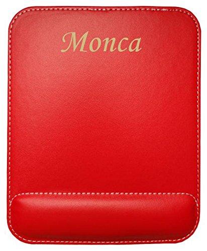 1f6bc4b38f63 Almohadilla de cuero sintético de ratón personalizado con el texto: Monca  (nombre de pila/apellido/apodo)