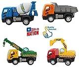 #10: Halo Nation® Construction Vehicle Set 4 pcs - Dumper + JCB + Cement Mixer + Transport Truck - Unbreakable ABS Plastic Friction Powered Kids Automobile Toy Set - Assured Quality