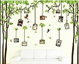 Grün Baum Wandaufkleber Rückläufig Laub und Fliegend Vögel Art Aufkleber Tanzen Schmetterling Vinyl Zuhause Dekor DIY Herausnehmbar Rahmen Tapete Dekoration für Kids Schlafzimmer, Kinderzimmer, Wohnzimmer (Rahmen)