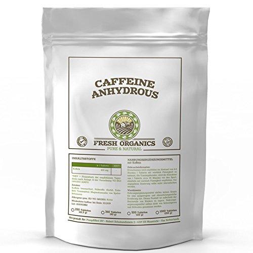 Koffein Pulver (Koffein | 500 Tabletten á 200mg | Großpackung XL | Caffeine Anhydrous | 100% wasserfreies Koffein | Coffeinium | Natürlicher Wachmacher | Energie-Level & Stoffwechsel | Premium Qualität)