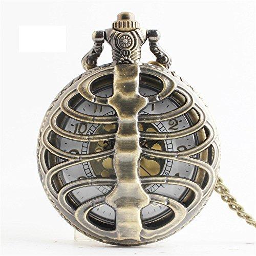 Keliour-brt Taschenuhr Klassische Taschenuhr Geschenk-Tisch-Bronze-Schlag-Quarz-hängende Uhr-kreative Hohle Knochen-Art-Hohle Taschen-Uhr Für Männer Frauen (Dekorationen Tasche Knochen Von)