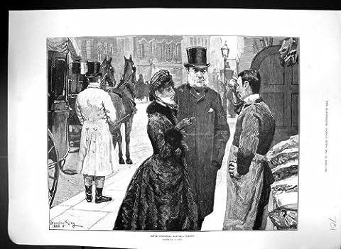Antiker Druck die Straßenbild-Kaufenden Weihnachts-Türkei-Abendessen-Metzgers 1883 Hor…