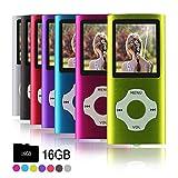 Ueleknight MP3-Player MP4-Player mit Einer 16G Micro SD-Karte, Wiedergabe 16GB Musik-Player Hi-Fi-Sound, tragbarer digitaler Musik-Player mit FM-Radio und Voice Recorder Funktion-Grün
