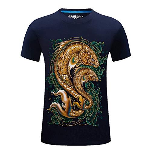 BURFLY Herren Sommer Neue 3D Print Kurzarm Atmungsaktiv und Schnell trocknend Sport T-Shirt Lässig Top