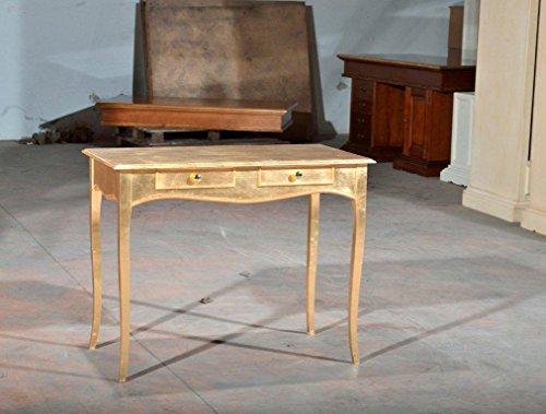 bureau-console-table-bois-finition-feuille-dor