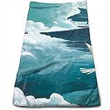 mallcentral-EU Whale and Aeroplane Children 's Dream Design Maximale Weichheit und hochsaugfähiges bedrucktes Handtuch Badetuch Handtuch