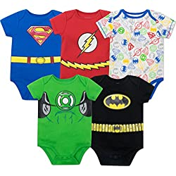 Warner Bros. Body Bébé Garçon Super-héros Justice League - Batman, Superman, The Flash et Green Lantern (Lot de 5), Multicolore 6-9 Mois