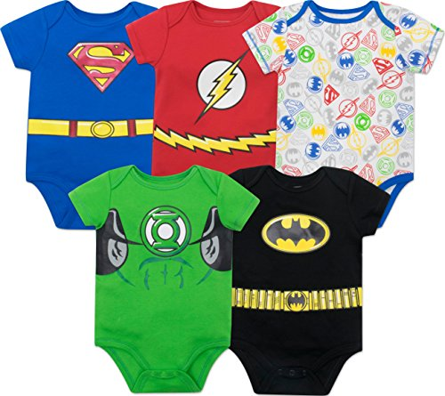 DC Comics Body con los Superhéroes de la Justice League - Superman, el Flash, Green Lantern y Batman para Bebé-Niños (Pack de 5), Multi 3-6 Meses