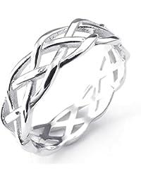 KONOV Joyería Anillo de mujer, Nudo Celta, Celtic Knot Compromiso, Boda, Amor, Plata de ley 925, Color plata (con bolsa de regalo)