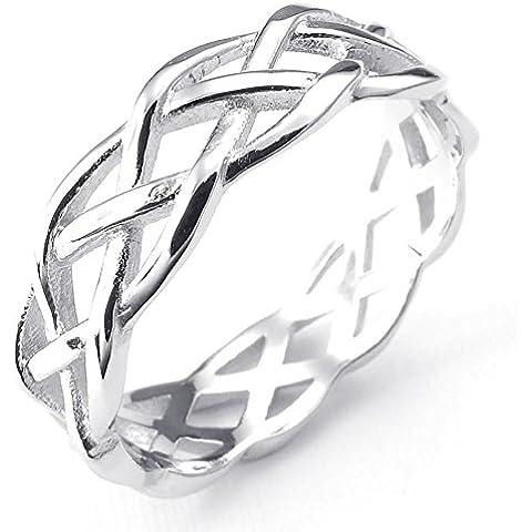 KONOV Joyería Anillo de mujer, Nudo Celta, Celtic Knot Compromiso, Boda, Amor, Plata de ley 925, Color plata (con bolsa de