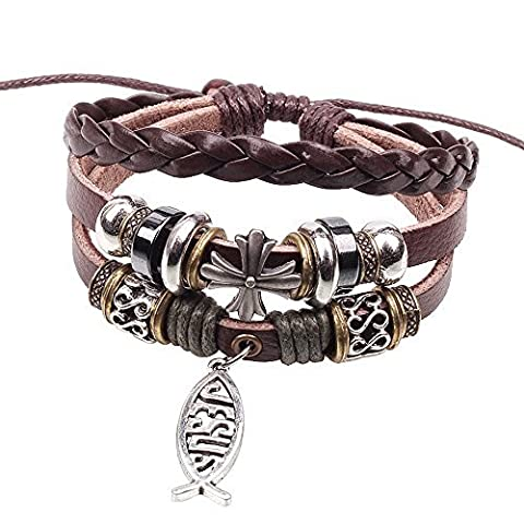 Winter Secret de Jésus Croix Style 3rangées en alliage Pendentif poisson Perles Bracelet en cuir réglable