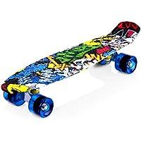 ENKEEO Monopatín Skateboards Retro Crucero (22 Pulgadas, 4 PU Ruedas traslúcidas, Tabla de plástico Reforzado, rodamiento ABEC-7) Dibujo Joker