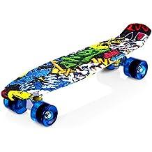 Enkeeo - Planche à Roulettes Skateboard Retro Cruiser (22 pouces, 4 roues translucides PU, table en plastique renforcé, roulement ABEC-7, pour les enfants, jeunes et adultes)