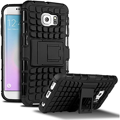 Samsung Galaxy S6 Edge Plus Case, iPro Accessories Stylish Heavy-Duty [Shock Proof] Dual Case Cover with / Back Stand and Compatible With Screen Protector, (Black)