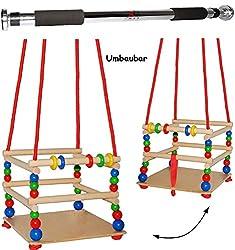 Unbekannt 2 TLG. Set _ Gitterschaukel aus Holz + Türreck / Kinderschaukel - mit Gurt / Leichter Einstieg ! - mitwachsend & verstellbar - Schaukel & Babyschaukel - Verst..