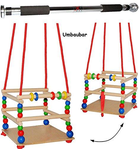 2 TLG. Set _ Gitterschaukel aus Holz + Türreck / Kinderschaukel - mit Gurt / Leichter Einstieg ! - mitwachsend & verstellbar - Schaukel & Babyschaukel - Verst.. ()