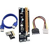 PCI-E Express Powered Riser Karte 1x bis 16x Mining Dedizierte Grafikkarten Verlängerungskabel Adapter, Extender Riser Kartenadapter mit USB 3.0 SATA 15 Pin Power Kabe Von QinMM
