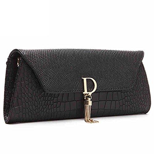 borse in pelle delle donne ad alta capacità marche bag borsa da sera in pelle frizione catena pochette nappa pacchetto busta ( Colore : Bianca ) Nero