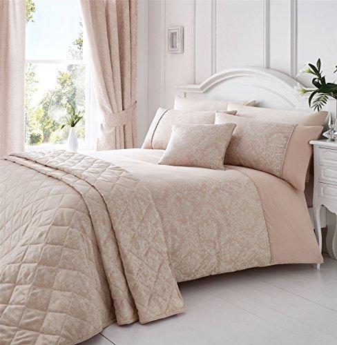 gewebt Damast pink weiß King Size Bettbezug & Vorhänge