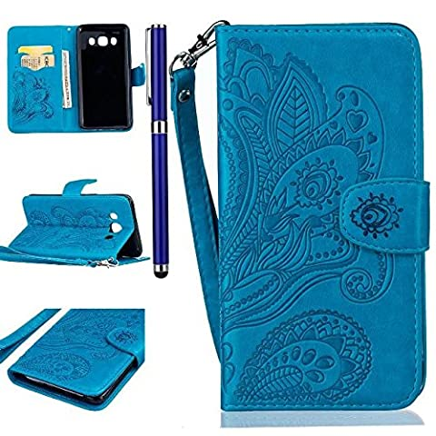 FESELE Samsung J5 (2016) Leather Wallet Case Synthetic PU Leather Peacock Flower Pattern Hand Strips design PU Leather Flip Protective Magnet Case Cover with Stand Card Holder Free Stylus Pen-Blue