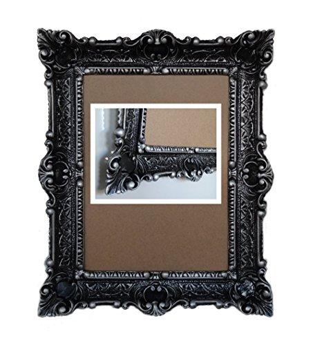 Lnxp cornice barocca anticata in colore nero/argento 2 dualcolor 56 x 46 cm rettangolare repro immagini per 30 x 40 cm o 40 x 30 cm quadri barocchi