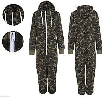 """Mens Unisex Onesie Full Camouflage Print Zip Up All In One Hooded Army Camo Jumpsuit Playsuit Brushed Fleece Inside (Small =Chest 40"""" Length 65"""")"""