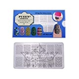 Pueen Nail Art Stamping Plate Geo Lover 01 125x65mm Unique Nailart Polish Stamping Manicure Image Plates Accessories Kit Bh000556
