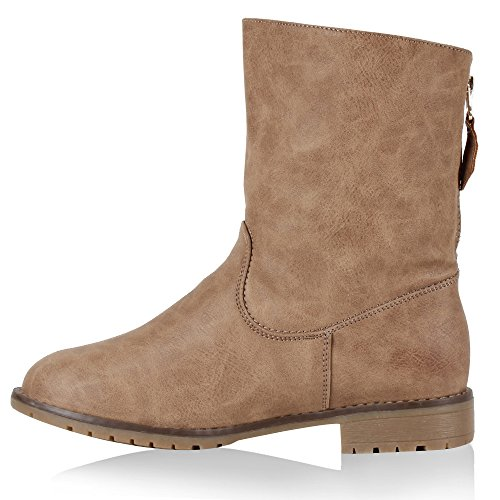 Damen Schuhe Schlupfstiefel Warm gefüttert mit Blockabsatz Khaki